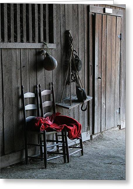 Red In The Barn Greeting Card by Angie Bechanan