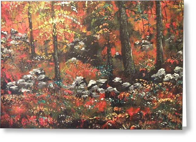 Greeting Card featuring the painting Red In The Woods by Dan Whittemore