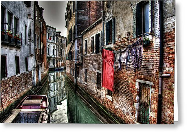 Red In Venice  Greeting Card