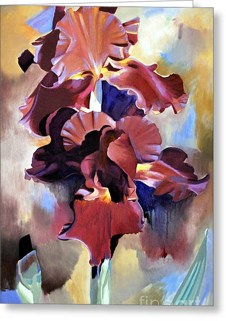 Red Irises Greeting Card by Michael Stoyanov