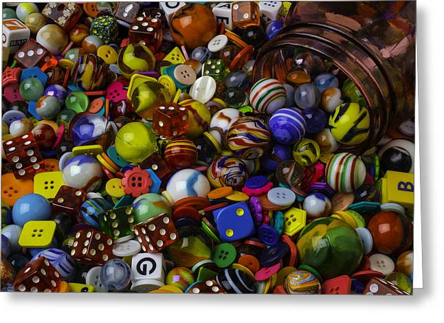 Red Jar Spilling Marble And Dice Greeting Card by Garry Gay