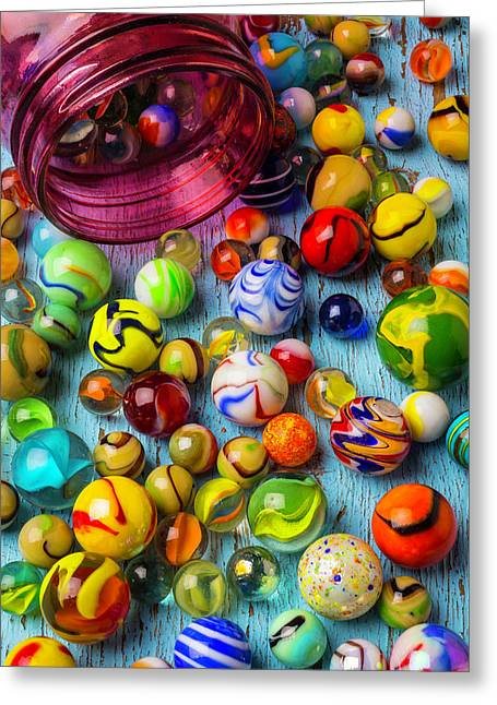 Red Jar With Colorful Marbles Greeting Card