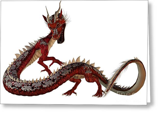 Red Jewel Dragon Greeting Card by Corey Ford