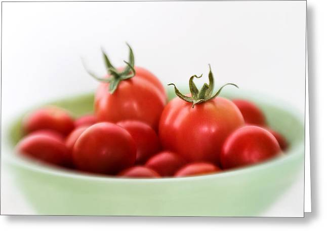 Red Juicy And Home Grown Tomatoes Greeting Card by David and Carol Kelly