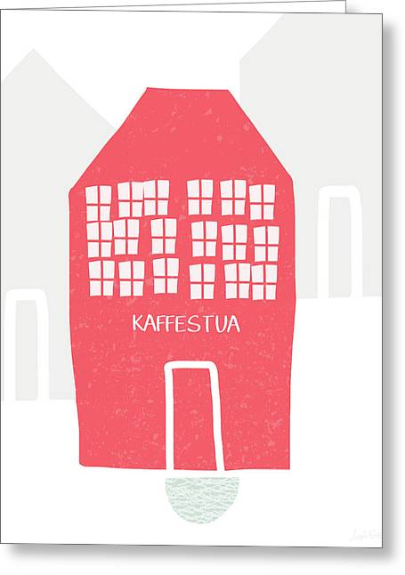 Red Kaffestua- Art By Linda Woods Greeting Card