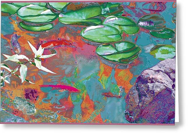 Red Koi In Green Disguise Greeting Card by Judy Loper