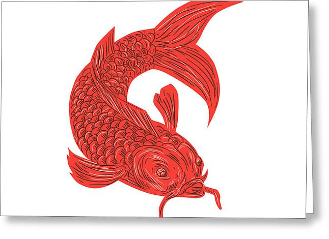 Red Koi Nishikigoi Carp Fish Drawing Greeting Card