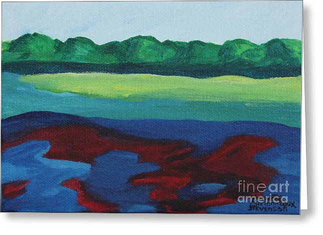 Red Lake Greeting Card by Annette M Stevenson