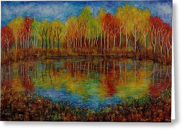 Red Lake. Greeting Card by Evgenia Davidov