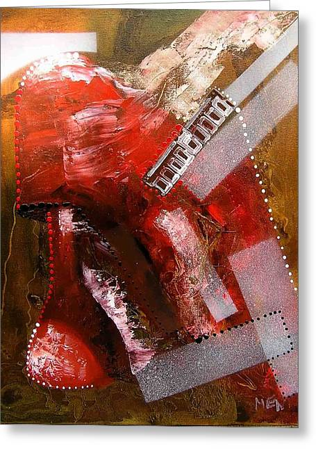 Red Lamp Transformation Greeting Card by Evguenia Men