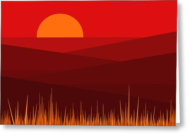 Red Landscape Greeting Card by Val Arie
