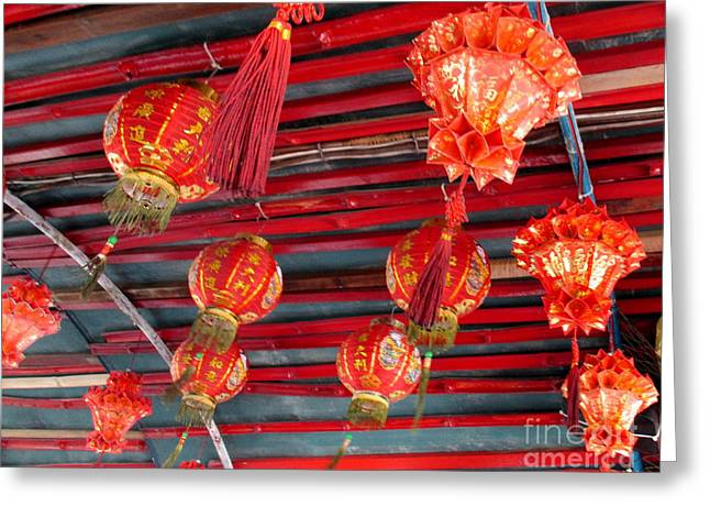 Greeting Card featuring the photograph Red Lanterns 2 by Randall Weidner