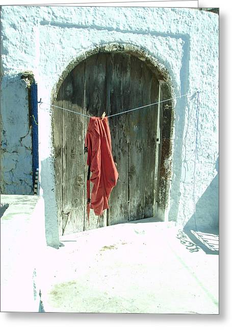 Red Laundry Greeting Card by Jennifer Kelly