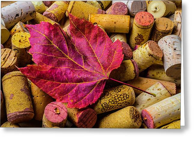 Red Leaf On Wine Corks Greeting Card