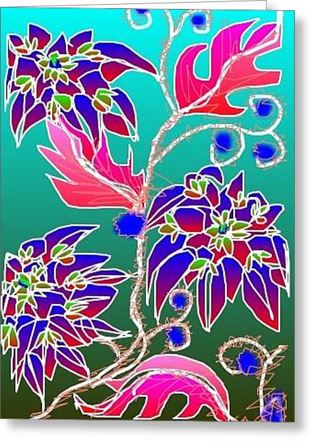 Greeting Card featuring the digital art Red Leaves Purple Flowers On Aqua by Rae Chichilnitsky