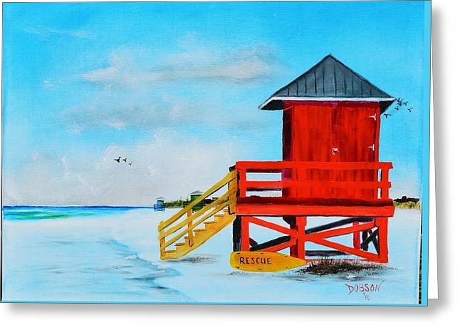 Red Life Guard Shack On The Key Greeting Card