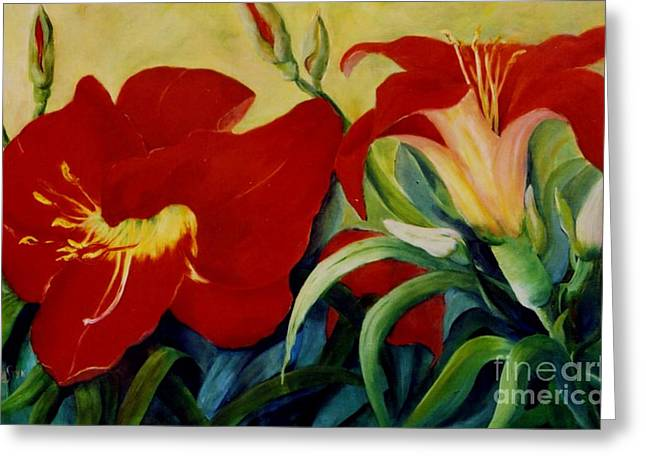 Red Lily Greeting Card by Marta Styk