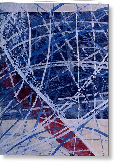 Red Line Blue Line Greeting Card by Ken Yackel