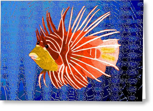 Red Lion Fish In The Deep Blue Greeting Card