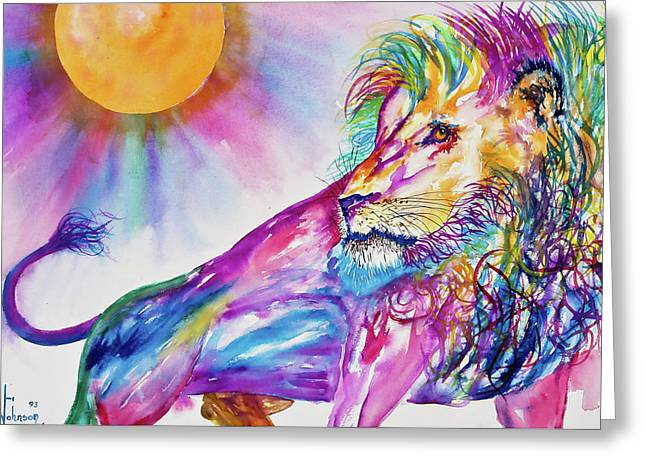 Preditor Greeting Cards - Red Lion Greeting Card by Larry  Johnson