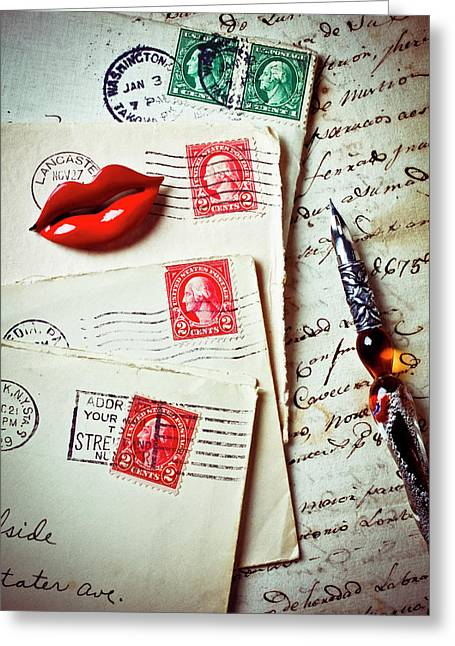 Red Lips Pin And Old Letters Greeting Card by Garry Gay