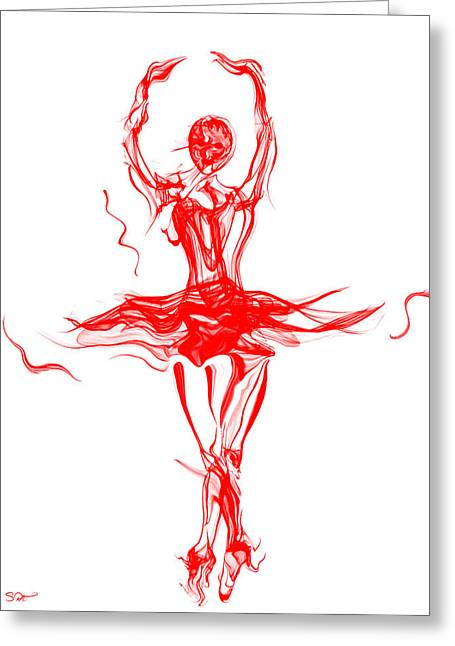 Red Lipstick Ballerina Twirling Greeting Card by Abstract Angel Artist Stephen K