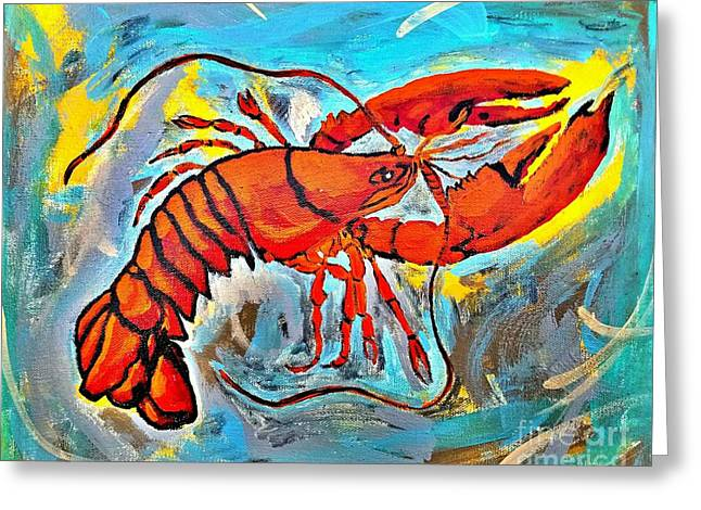 Red Lobster Abstract  Greeting Card by Scott D Van Osdol