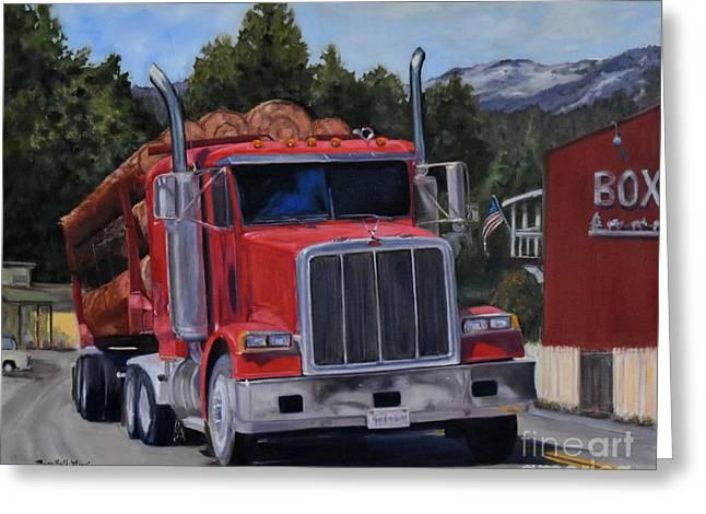 Red Logger Greeting Card by Mary Beth Harrison