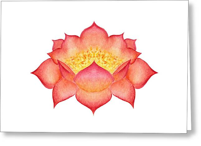 Greeting Card featuring the painting Red Lotus by Elizabeth Lock