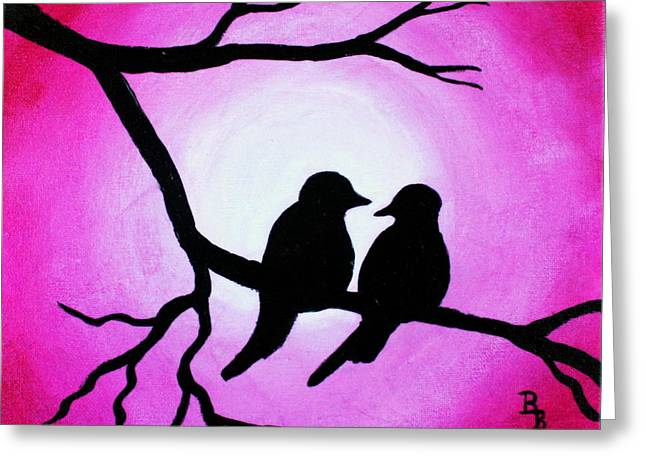 Greeting Card featuring the painting Red Love Birds Silhouette by Bob Baker