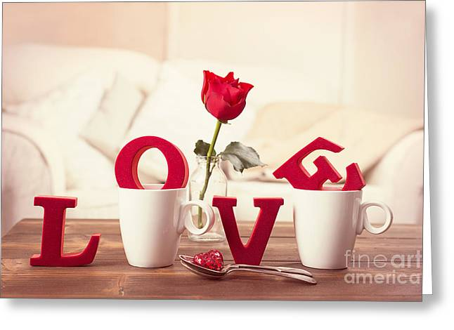 Red Love Letters For Valentines Day Greeting Card by Amanda Elwell
