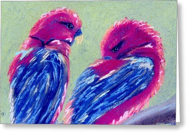 Red Lovebirds Greeting Card
