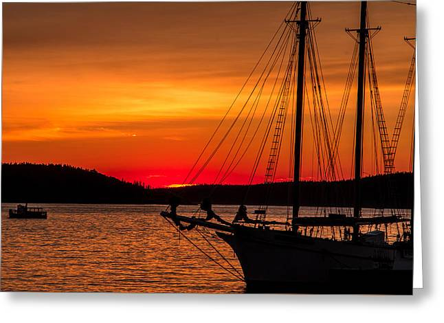 Red Maine Sunrise Greeting Card