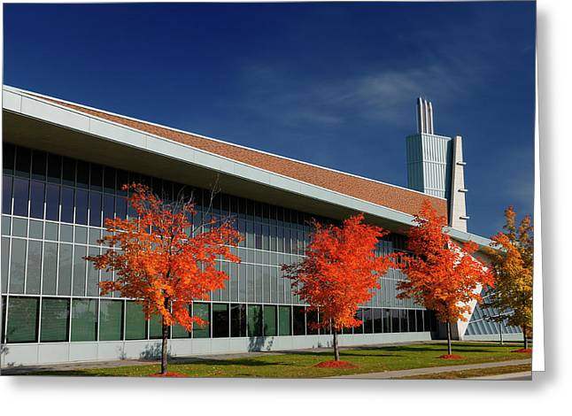 Red Maple Trees And Modern Architecture Of Seneca College York U Greeting Card
