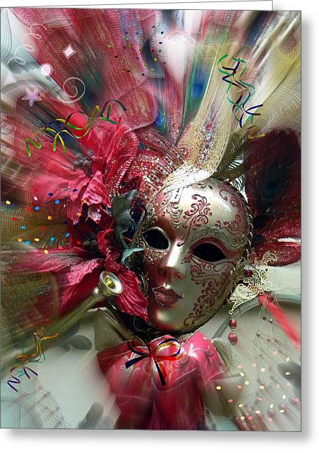 Greeting Card featuring the photograph Red Mask Of Fun by Amanda Eberly-Kudamik