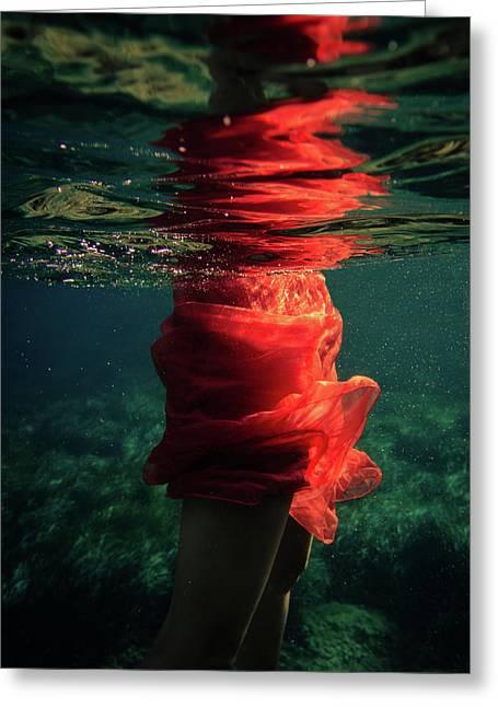 Red Mermaid Greeting Card