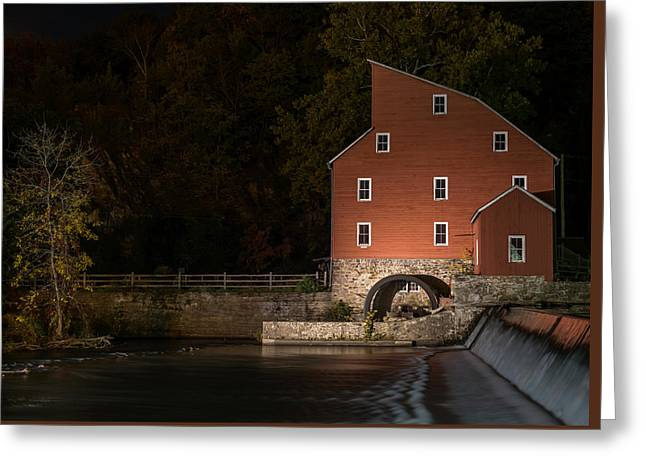 Red Mill At Night Clinton New Jersey Greeting Card by Terry DeLuco