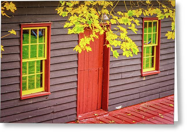 Red Mill Door In Fall Greeting Card
