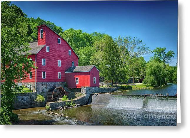 Red Mill Of Clinton New Jersey Greeting Card by Priscilla Burgers