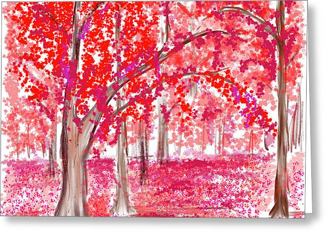 Red Mood Greeting Card by Angela A Stanton