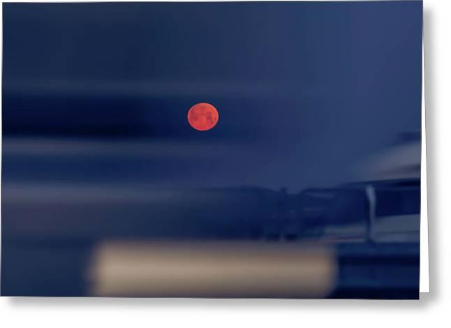 Red Moon Greeting Card by Hyuntae Kim