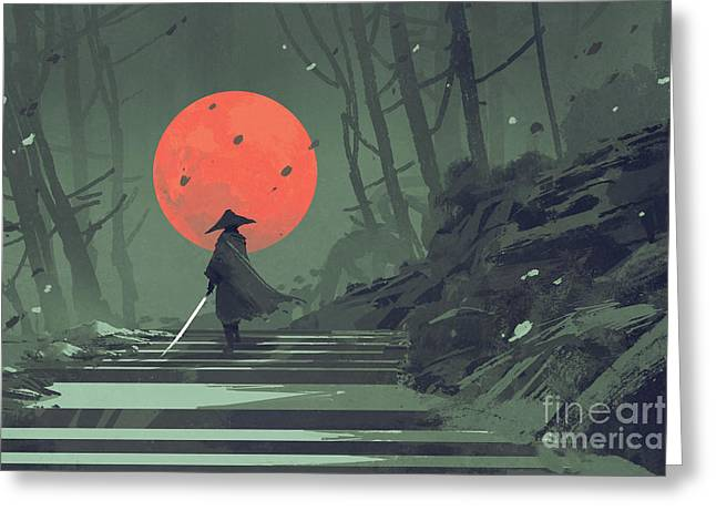 Greeting Card featuring the painting Red Moon Night by Tithi Luadthong