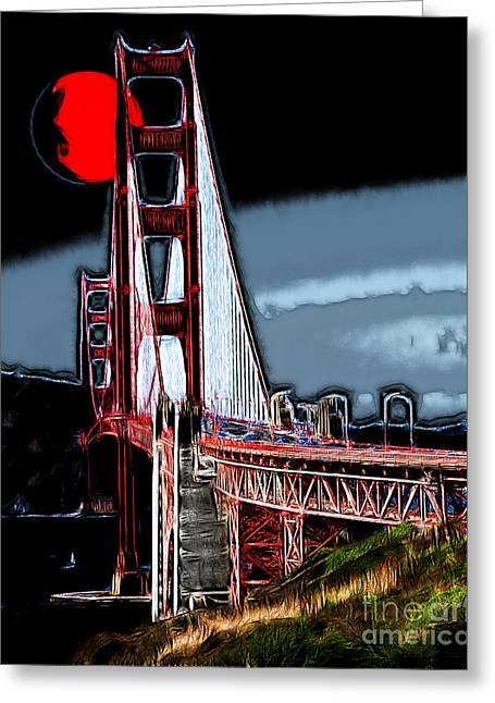 Bayarea Digital Greeting Cards - Red Moon Over The Golden Gate Bridge Greeting Card by Wingsdomain Art and Photography