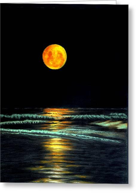 Red Moon Rising Greeting Card by Antonia Citrino