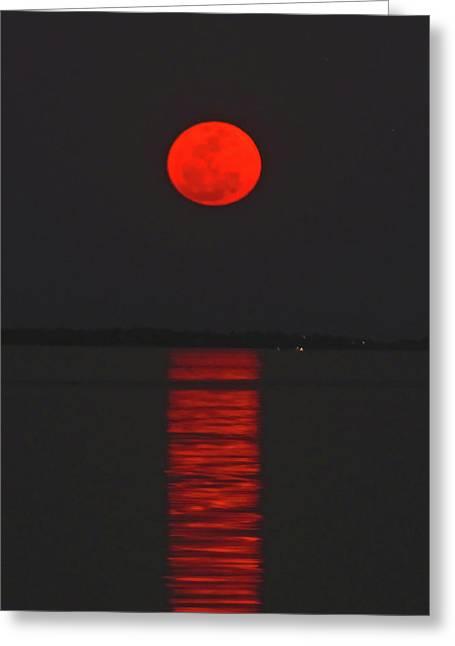 Red Moon Rising  Greeting Card