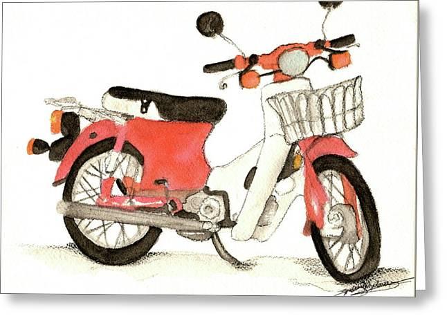 Red Motor Bike Greeting Card