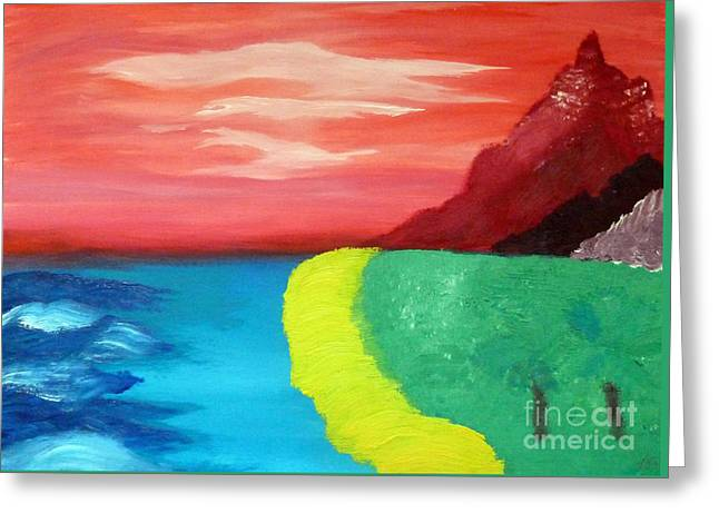Red Mountain By The Sea Greeting Card