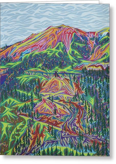 Red Mountain Greeting Card by Robert SORENSEN