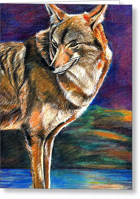 Red Mountain Wolf Greeting Card by John Keaton