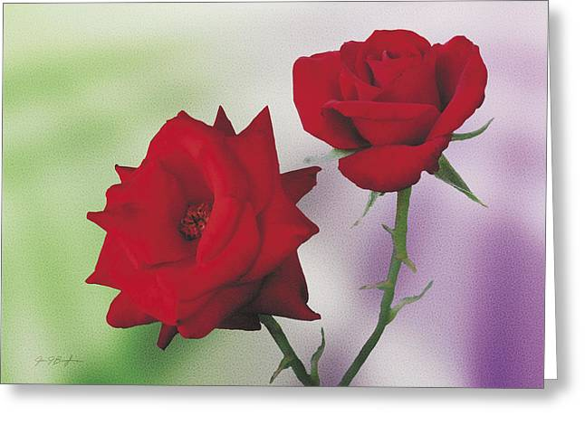 Red Mr. Lincoln Roses Greeting Card by Jan Baughman